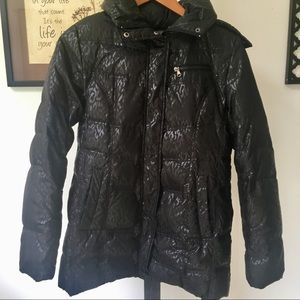 Black puffer coat with faux fur detail